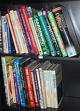 TWO SHELVES OF MISCELANEOUS BOOKS, INCL. TRAVEL, GARDENING AND CRICKET