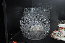 BOHEMIAN PRESSED GLASS DESSERT SET FOR 12