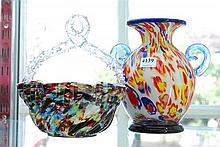 TWO PIECES OF CONFETTI ART GLASS INCL. A BASKET AND TWIN-HANDLED VASE