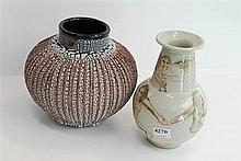 TWO MODERN PIECES OF POTTERY, ONE BY BERNADINE ALTING AND ONE OTHER