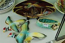 A COLLECTION OF PORCELAIN INCL. A SYLVAK TROUGH, FLYING PHEASANTS AND CARLTON WARE