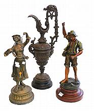 TWO SPELTER FIGURES AND A BRONZE EWER (A/F)