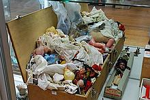 A TRUNK FULL OF DOLLS ACCESSORIES, MINIATURE DOLLS, HALF DOLLS & OTHER VINTAGE TOYS