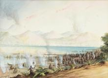 GEORGE FREDERICK GREGORY (1856-1916) Lake Rotomahana, NZ watercolour and gouache