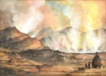 GEORGE FREDERICK GREGORY (1856-1916) A Pair of Works The Devil's Caldron Near Tongariro, New Zealand watercolour and gouache