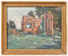 MARIE TUCK (1866-1947) Church Ruins oil on board