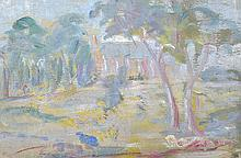 MARIE TUCK (1866-1947) Country Church oil on canvasboard