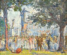MARIE TUCK (1866-1947) Celebrations to Commemorate the Prince of Wales Visit Adelaide c.1920 oil on board