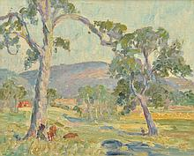 MARIE TUCK (1866-1947) Landscape with Cattle oil on canvasboard