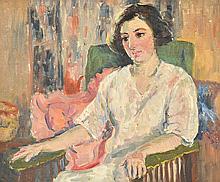 MARIE TUCK (1866-1947) Portrait of Mrs. Fred Harris oil on canvasboard
