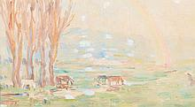 MARIE TUCK (1866-1947) Landscape with Rainbow watercolour and gouache on peper