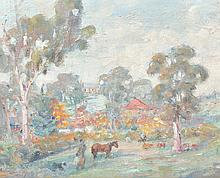 MARIE TUCK (1866-1947) Mt Torrens from the Tuck Family Home oil on canvasboard