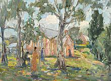 MARIE TUCK (1866-1947) Sunday at Glen Osmond Church oil on board