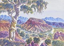 OTTO PAREROULTJA (1914-1973) Central Australian Landscape with Gum Tree watercolour