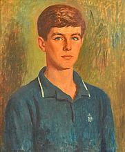 REX WOOD (1908-1970) Portrait of a Young Man oil on board