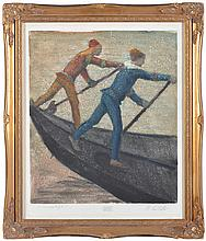 ROMEO COSTETTI (Italian 1871-1957) Two Gondoliers monotype