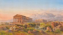 GIOVANNI GIORDINO LANZA (Italian, 1827-1890) Italian Ruin Landscape watercolour