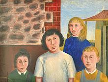 JAMES CANT (1911-1983) The New Australians, Carrington Street Kids oil on board