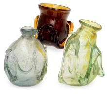 THREE GLASS VASES BY STEPHEN SKILLITZI