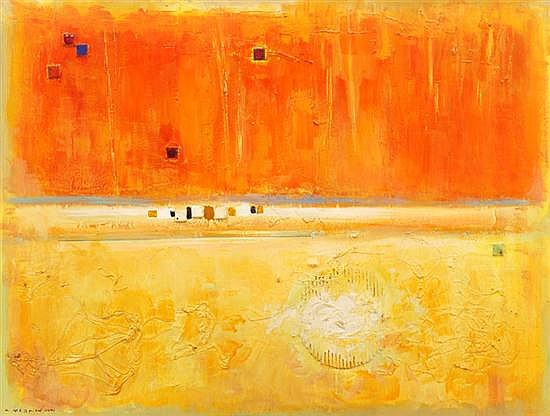 KARLIS MEDNIS (1910-1999) Scorched Land 1971 mixed media on board
