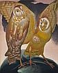MURRAY GRIFFIN (1903-1992) Golden Owls 1951 linocut 16/26