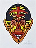 HOWARD ARKLEY (1951-1999) Zappo Head hand-coloured (texta) screenprint