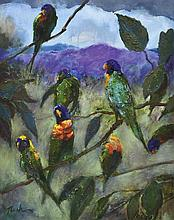 ALBERT TUCKER (1914-1999) Parrots in a Queensland Landscape oil on canvas