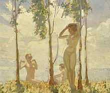 FREDERICK WILLIAM LEIST (1878-1945) Bathers oil on board