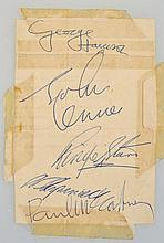 SET OF BEATLES AUTOGRAPHS, 1964