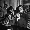 THE BEATLES POSING FOR PRESS DURING CONFERENCE/RECEPTION
