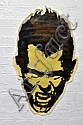 GUZ Untitled (Screaming Head Yellow & Brown) 2004 enamel stencil print on paper, shaped cut out paste-up a/p 99 x 60cm