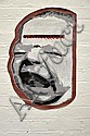 GUZ Untitled (Screaming Baby Head) 2004 enamel stencil print on paper, shaped cut out paste-up a/p 69 x 46cm