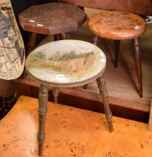 THREE FOLK ART MILKING STOOLS WITH PAINTED AND CARVED DECORATION