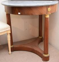 A FRENCH EMPIRE STYLE CIRCULAR MARBLE TOP OCCASIONAL TABLE (80cm D x 80cm H)