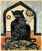 Prayat Pongdam (Thai, born 1934) Cat's Dinner 1964 linocut and gold leaf 4/5