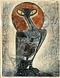 Prayat Pongdam (Thai, born 1934) Mother Owl 1964 linocut and gold leaf 1/5