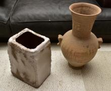 AN EGYPTIAN THEMED URN AND AN EGYPTIAN THEMED CERAMIC PLANTER (repaired)