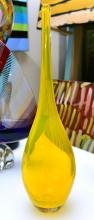 A YELLOW ART GLASS VASE (signature to base)