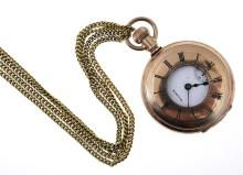 A HALF MINUTE POCKET WATCH, BY WALTHAM, GOLD LINED CASE AND DISPLAY CHAIN WITH A 9CT GOLD FITTING - GLASS DEFICIENT