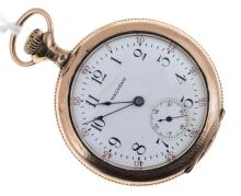 AN OPEN FACED POCKET WATCH BY WALTHAM, TO A GOLD LINED CASE AND SECOND MARKINGS ON THE FACE
