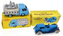 TWO CLUB DINKY FRANCE MODELS INCLUDING CDF 37 RENAULT CAMION LAITIER, POWDER BLUE AND WHITE, SILVER TRIM, 1 X BROKEN TYRE, 10 X MILK...