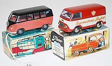 TWO TEKNO MODELS INCLUDING 410 TAXA, TWO TONE BLACK UPPER, DARK SALMON LOWER; 419 FORD TAUNUS 'BAGERMESTRENES RUGBROD' (E-M BOXES P-G) (2)