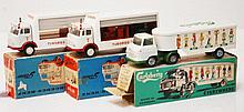 THREE TEKNO COMMERCIAL VEHICLES INCLUDING 458 CARLSBERG TRANSPORT; 2 X 913 MERCEDES-BENZ, ONE WITH RED AND GREEN CRATES (VG-E BOXES P-F) (3)