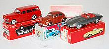 THREE TEKNO MODELS INCLUDING 830 VOLVO 121, DARK RED; 926 JAGUAR 'E', DARK SILVER; AND 805 VOLKSWAGEN BEETLE, BRONZE (E-M BOXES VG-E) (3)