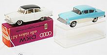 TWO TEKNO MODELS INCLUDING 720 OPEL REKORD TWO TONE POWDER BLUE AND CREAM' AND 727N DKW CREAM WITH BLACK ROOF (E-M BOXES VG-E) (2)