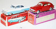TWO TEKNO MODELS INCLUDING 823 TAUNUS 17M TWO TONE, CREAM UPPER, STEEL BLUE LOWER; AND 822 VOLVO PV 544, DARK RED (E-M BOXES F-VG) (2)