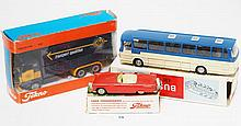 THREE TEKNO MODELS INCLUDING 809 FORD THUNDERBIRD; 950 MERCEDES BENZ BUS; AND VOLVO F89 B425 'TRANSPORT-SPEDITION' (E-M BOXES G-VG) (3)