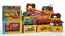 COLLECTION OF MATCHBOX KING SIZE MODELS INCLUDING K8 CATERPILLAR TRAXCAVATOR; K13 READY MIX CONCRETE TRUCK; K8 CAR TRANSPORTER; 2 X K4 INTERNATIONAL TRACTOR; K2 DUMPER; AND K9 ROAD ROLLER (A LOT)