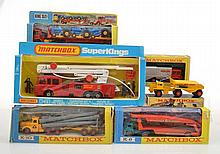 COLLECTION OF MATCHBOX KING SIZE MODELS INCLUDING K7 REFUSE TRUCK; K20 TRACTOR TRANSPORTER; K10 PIPE TRUCK; K8 CAR TRANSPORTER; K2 DUMPTRUCK; AND K39 SNORKEL FIRE ENGINE (6)