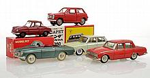 COLLECTION OF JAPANESE DIECAST MODELS INCLUDING MODEL PET NO.13 MAZDA R360 COUPE; DIAPET HONDA N360; AND THREE UNBOXED TAISEIYACO MODELS, ONE WITH BROKEN DETACHED WINDSCREEN  (VG-E BOXES VG-E) (5)